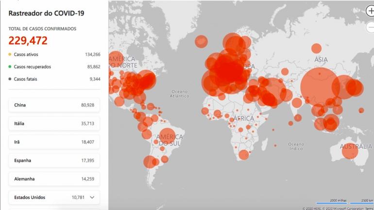 Microsoft lança mapa em tempo real para acompanhar pandemia do coronavírus